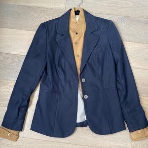 Veronica Beard navy blazer jacket leather dicky S